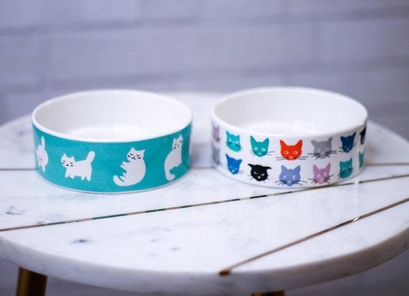 Cat Food Bowl Set