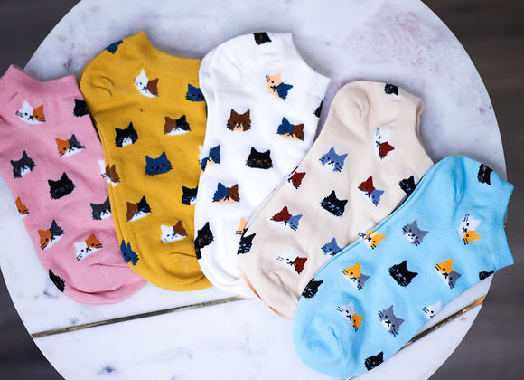 Assorted Cat Ankle Socks