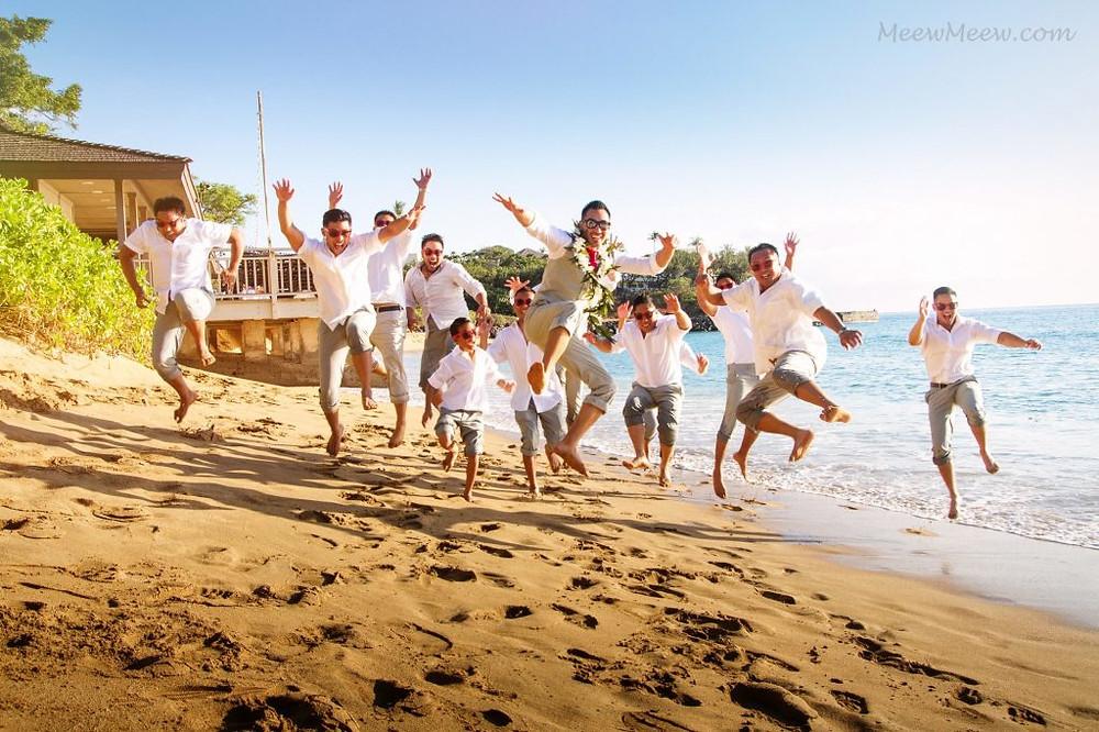 Bridal Party beach jump