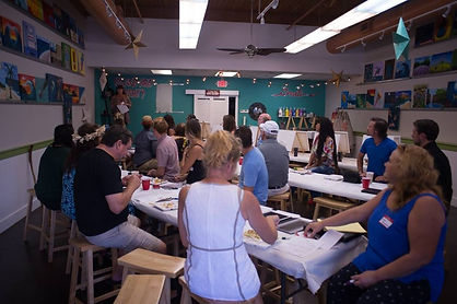 Corporate Events. Business Networking Maui Wedding Professionals at sip and paint activity Island Art Party in Kihei Maui