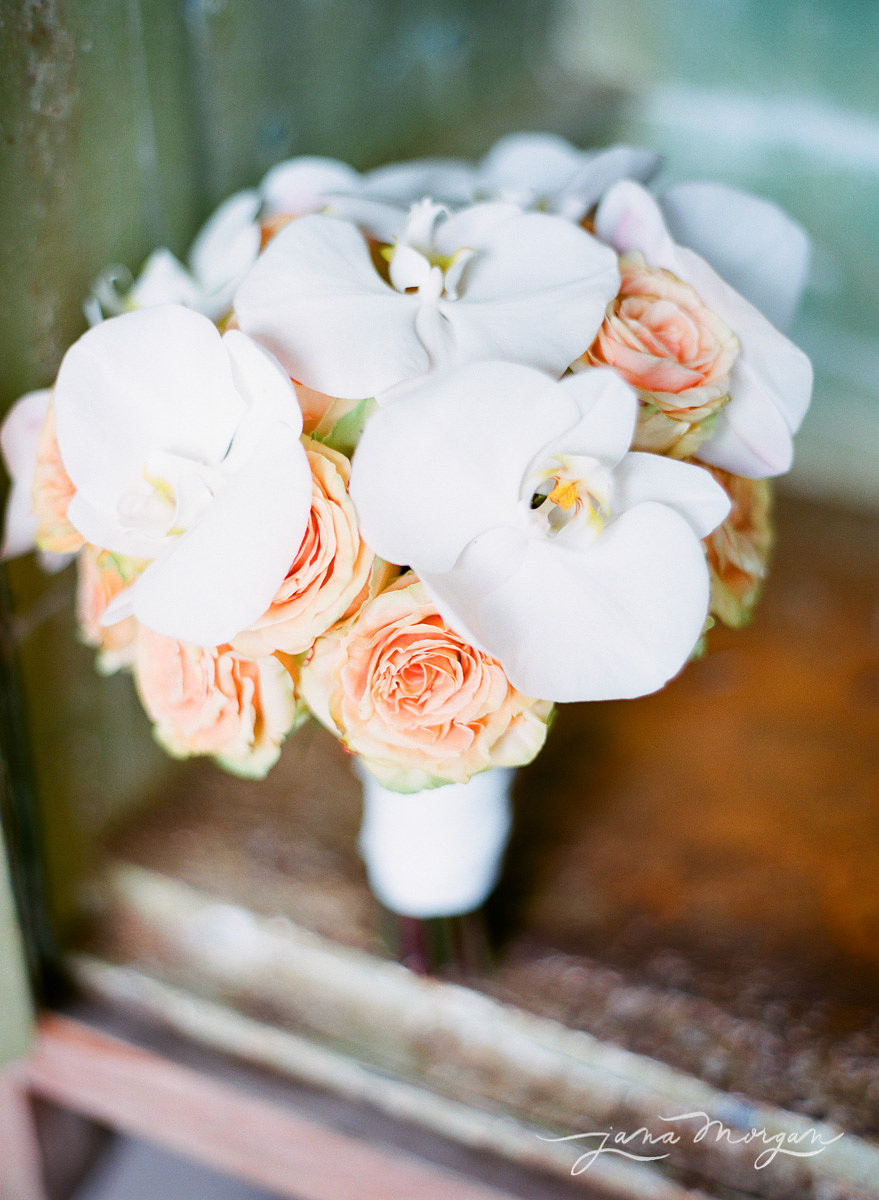 Coral and White Wedding Bouquet