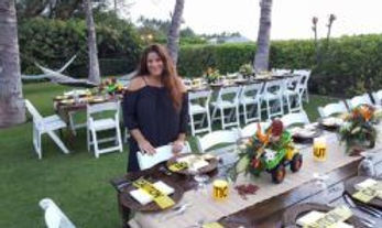 Construction theme 70th birthday party at private Maui estate for millionaire contractor. Flowers by Maui Bloom. Event Planner Tori Rogers. Cassie Pali photographer. Hawaiian Style Event Rentals.