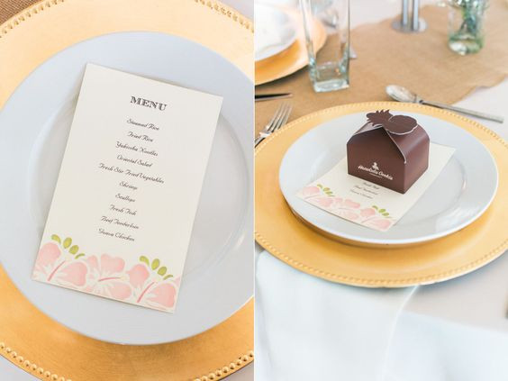 printed menu wedding favor
