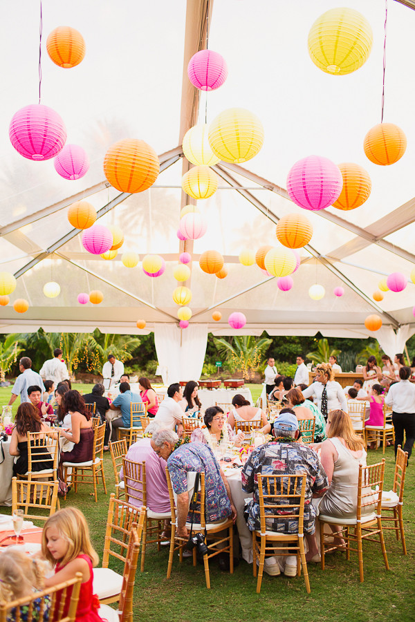 Colorful Lanterns in a Clear Top Tent at Loulu Palm Estate Wedding on Oahu, Photo by Sealight Studios