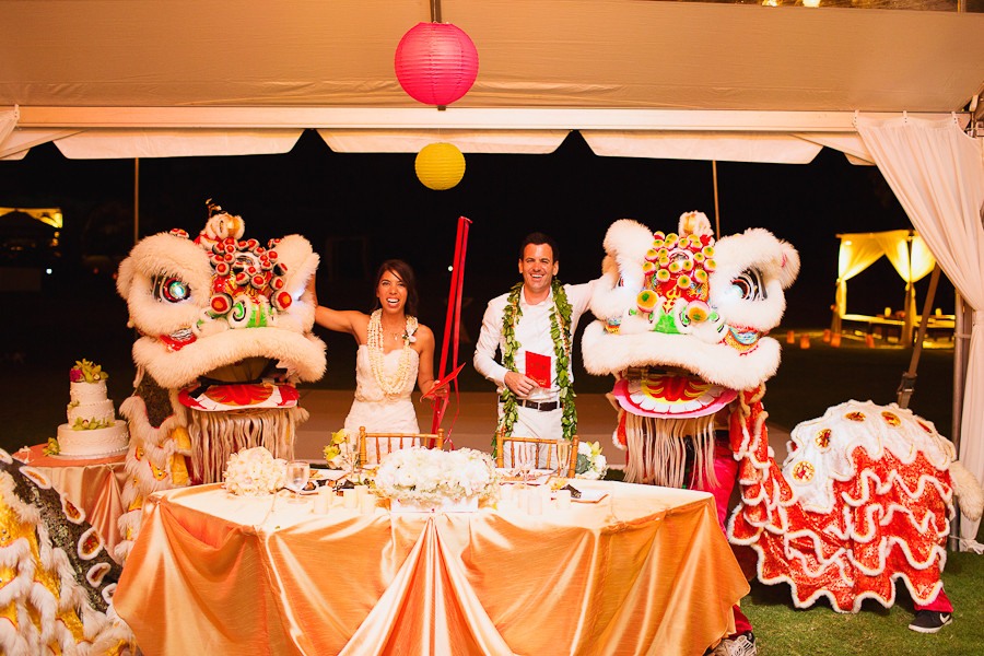 Chinese Lion Dance at Loulu Palm Estate Wedding on Oahu, Photo by Sealight Studios