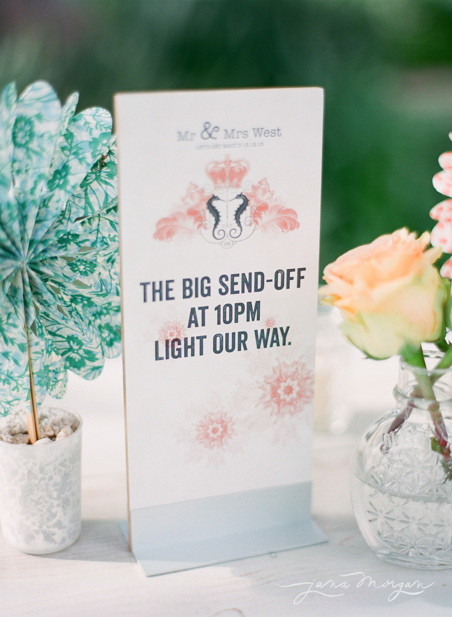 Sign for the couple's sparkler departure