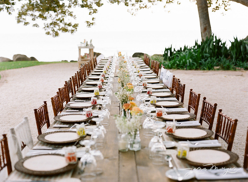 Farm Tables put together for family dining at a Maui wedding reception, Olowalu Plantation House