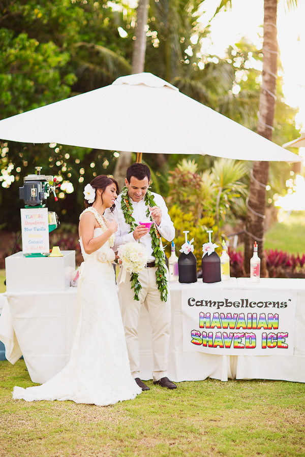 Shave Ice Station at Loulu Palm Estate Wedding on Oahu, Photo by Sealight Studios