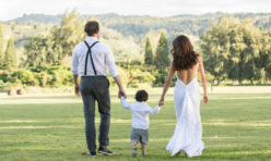 Bride, Groom, and Son-A Happy Family Married