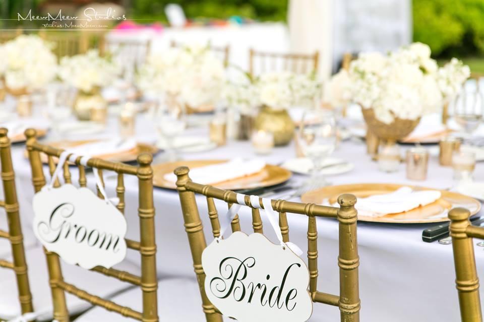 Bride and Groom Signs, Gold Chiavari Chairs, Wedding Reception, Hawaii Weddings by Tori Rogers, www.hawaiianweddings.net