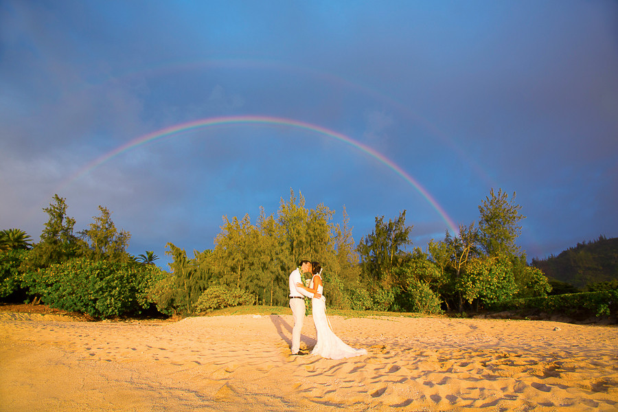 Loulu Palm Estate Wedding, Perfect Rainbow, wedding portraits by Sealight Studios