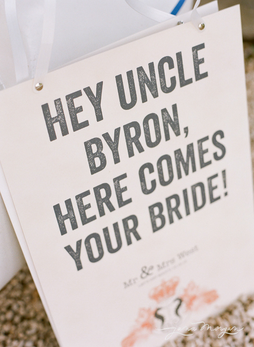 Sign for bridal entrance