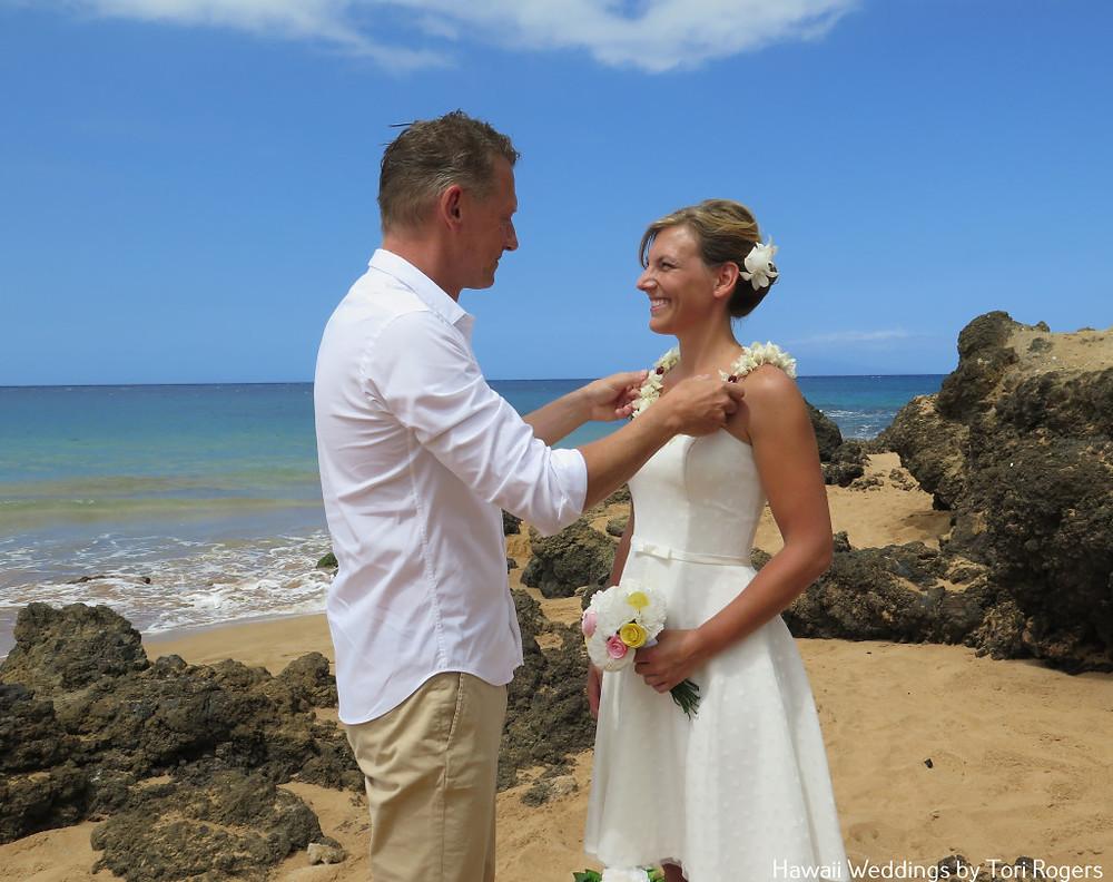 Hawaiian lei exchange ceremony