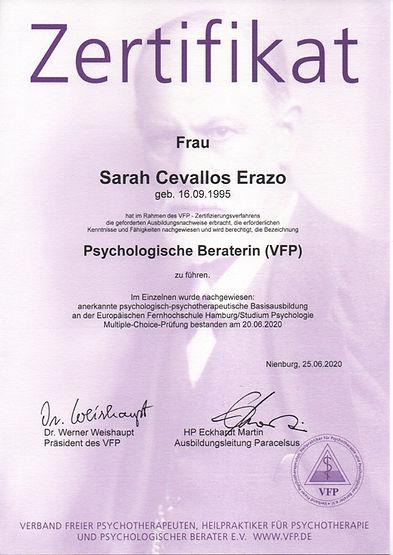 Zertifikat psychologischer Berater