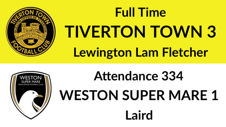 Tiverton Town 3-1 Weston super Mare