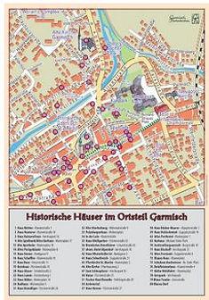 Historische Häuser und Gebäude des Historischen Ortsrundgangs im Ortsteil Garmisch