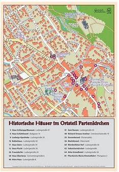 Historische Häuser und Gebäude des Historischen Ortsrundgangs im Ortsteil Partenkirchen