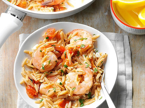 JERKY SHRIMP WITH ORZO PASTA