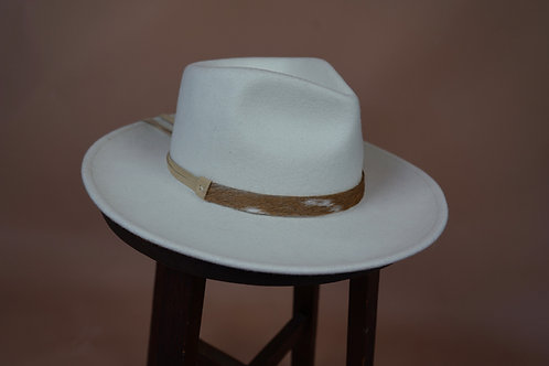 Axis Deer Hat Band- Cream Leather