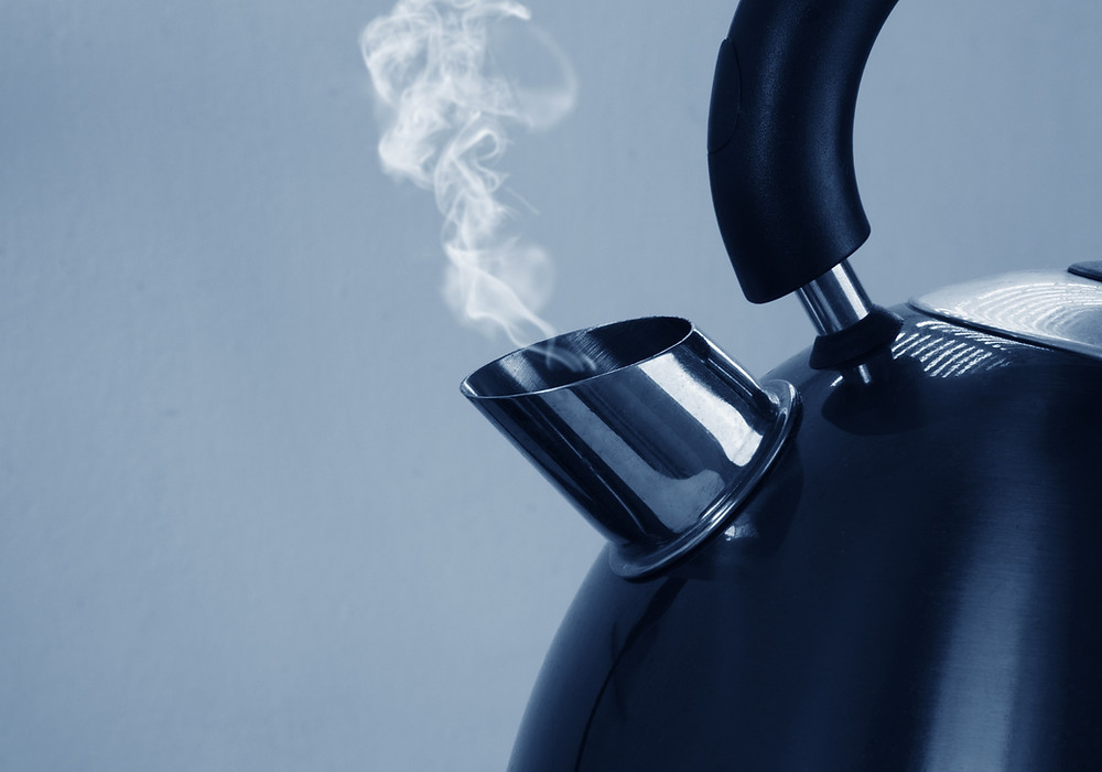 Steaming kettle. Just boil the water you need to make tea to help reduce climate change