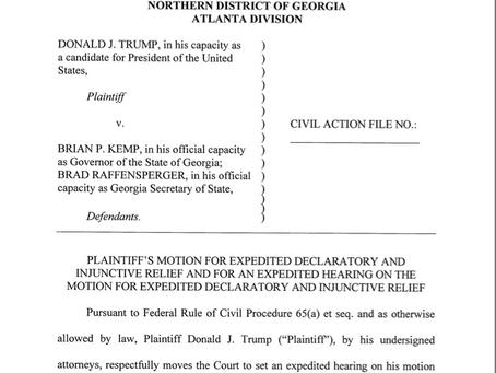 Trump's leaked GE2020 Georgia law suit.