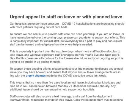 Caroline Clarke chief executive (NHS ROYAL FREE) Begging staff to cancel & return from annual leave.