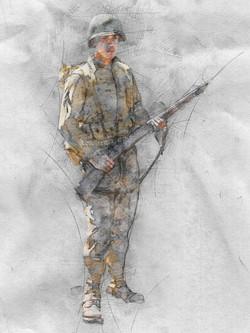 Mustache Soldier Standing