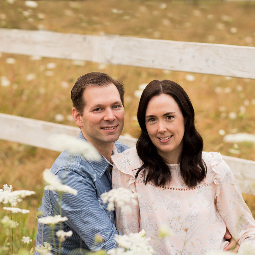 Couples Photography in field of wildflowers in Thurston County Wa
