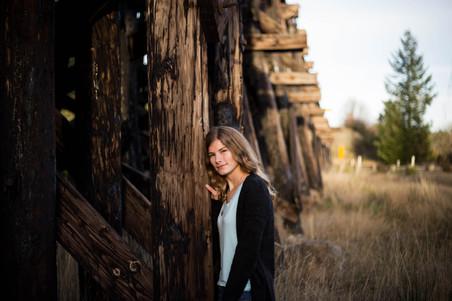 Senior girl photo at railroad bridge in Rainier, WA