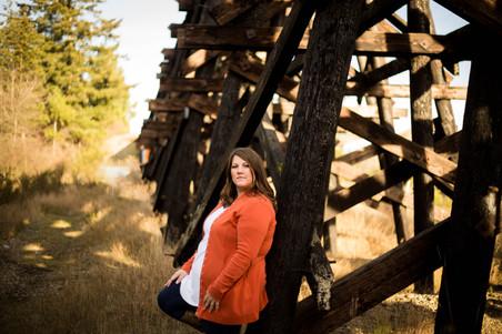 mothers portrait at railroad bridge