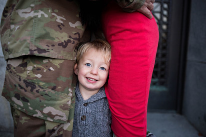 Military family photos at Olympia State Capital Building. A Bit O' Whimsy Photography
