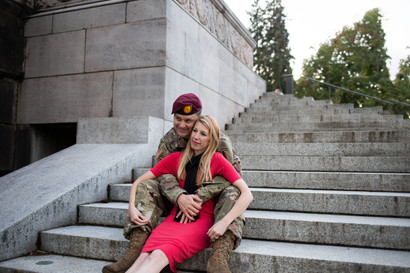 Military Couple Photo session at Olympia State Capitol Building. Photography by A Bit O' Whimsy