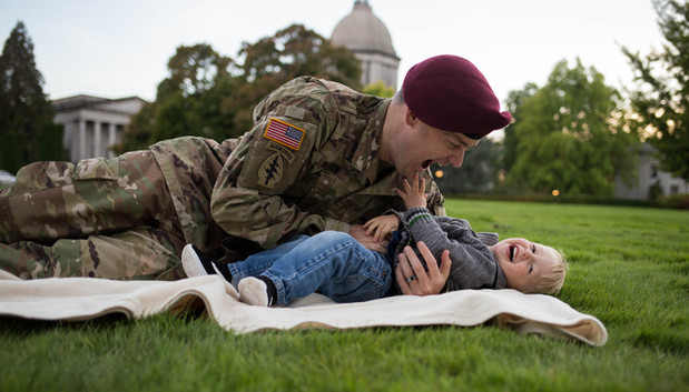 Military father and son photos at Olympia State Capitol. Photography by A Bit O' Whimsy