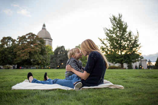 Mother and son photos at Olympia State Capital building. Photography by A Bit O' Whimsy