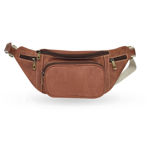 2 in 1 Tuscan Bum Bag In Hunter Leather - Brown  (ELP1008HB)