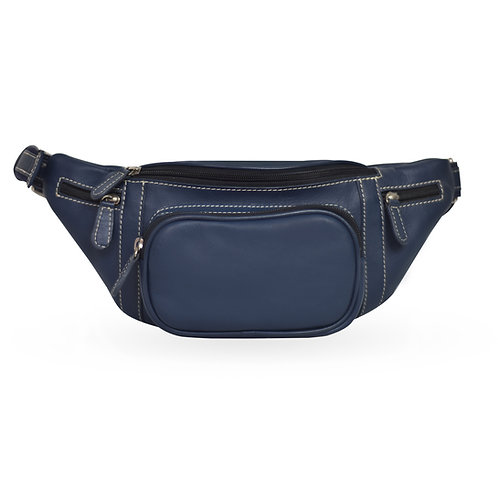 2 in 1 Tuscan Bum Bag In Leather - Navy Blue (ELP1008NB)