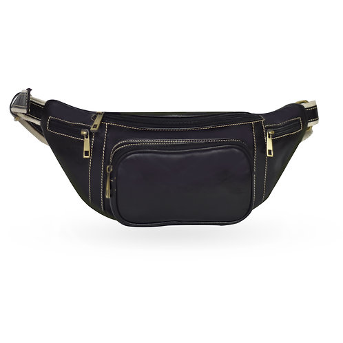 2 in 1 Tuscan Bum Bag In Leather - Black (ELP1008BL)