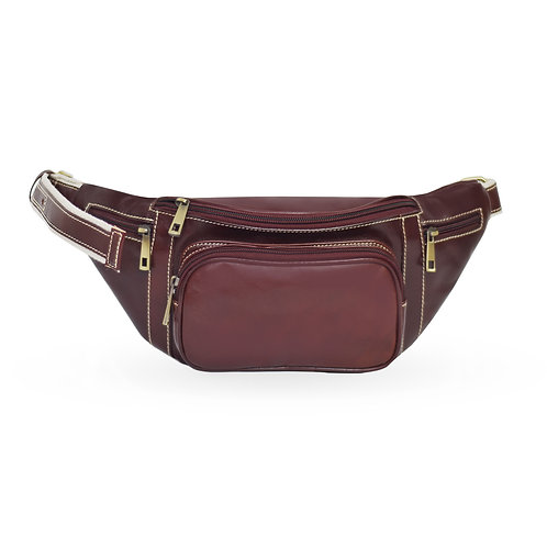 2 in 1 Tuscan Bum Bag In  Leather - Choclate Brown  (ELP1008CB)