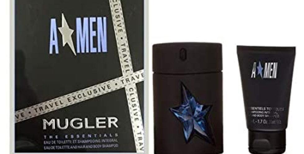 Thierry Mugler Angel Men 100ml Refillable EDT Spray / 50ml Hair & Body...