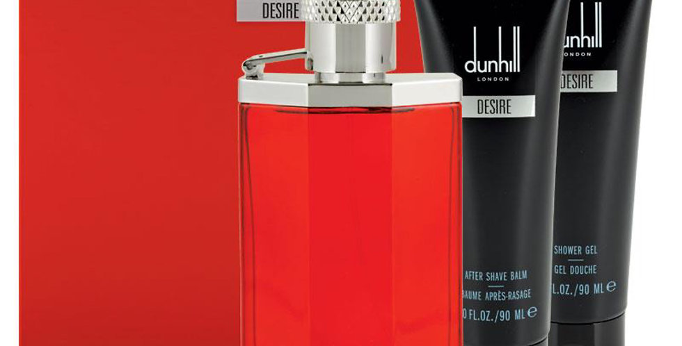 Dunhill Desire Red Men 100ml EDT Spray / 90ml Shower Gel/90ml Aftershave inc Bag