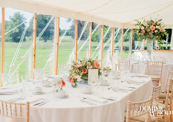 Oval Top Table in a Sailcloth Marquee