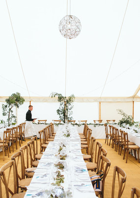 Trestle Tables Inside Marquee
