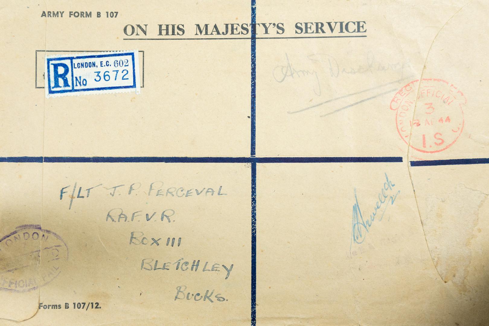 Bletchley Park envelope. Image - Becky Edmunds
