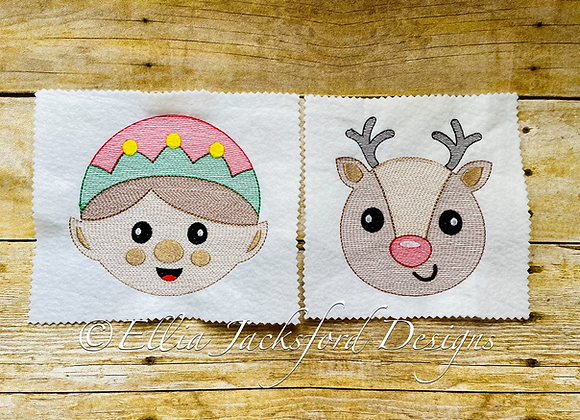 Elf and Reindeer Sketch Embroidery Design Set 3 SIZES