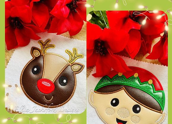 Elf and Reindeer Applique Embroidery Design Set 3 SIZES