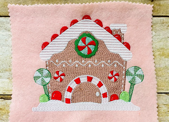 Sketch Gingerbread House Embroidery Design 3 SIZES