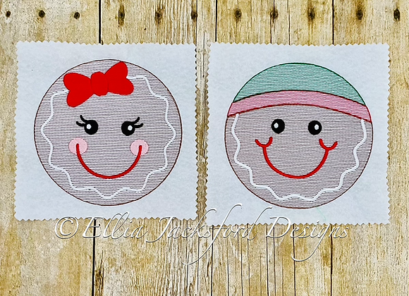 Sketch Gingerbread Circle Faces Embroidery Design SET OF 2