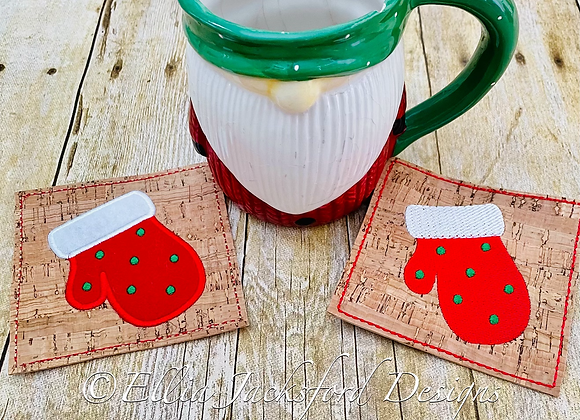 ITH Winter Mitten Coaster Embroidery Design 2 FINISHES
