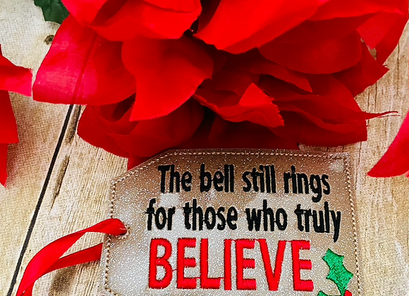 ITH Believe Bell Tag Embroidery Design