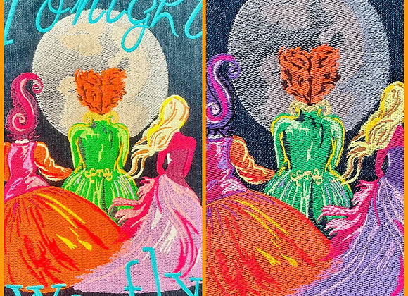 Watercolor Halloween Sisters Embroidery Design SET OF 2 FINISHES